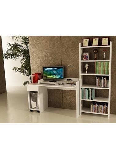 Sanal Mobilya Sirius Dolaplı Kitaplıklı Çalışma Masası 90-Dk-6B Beyaz